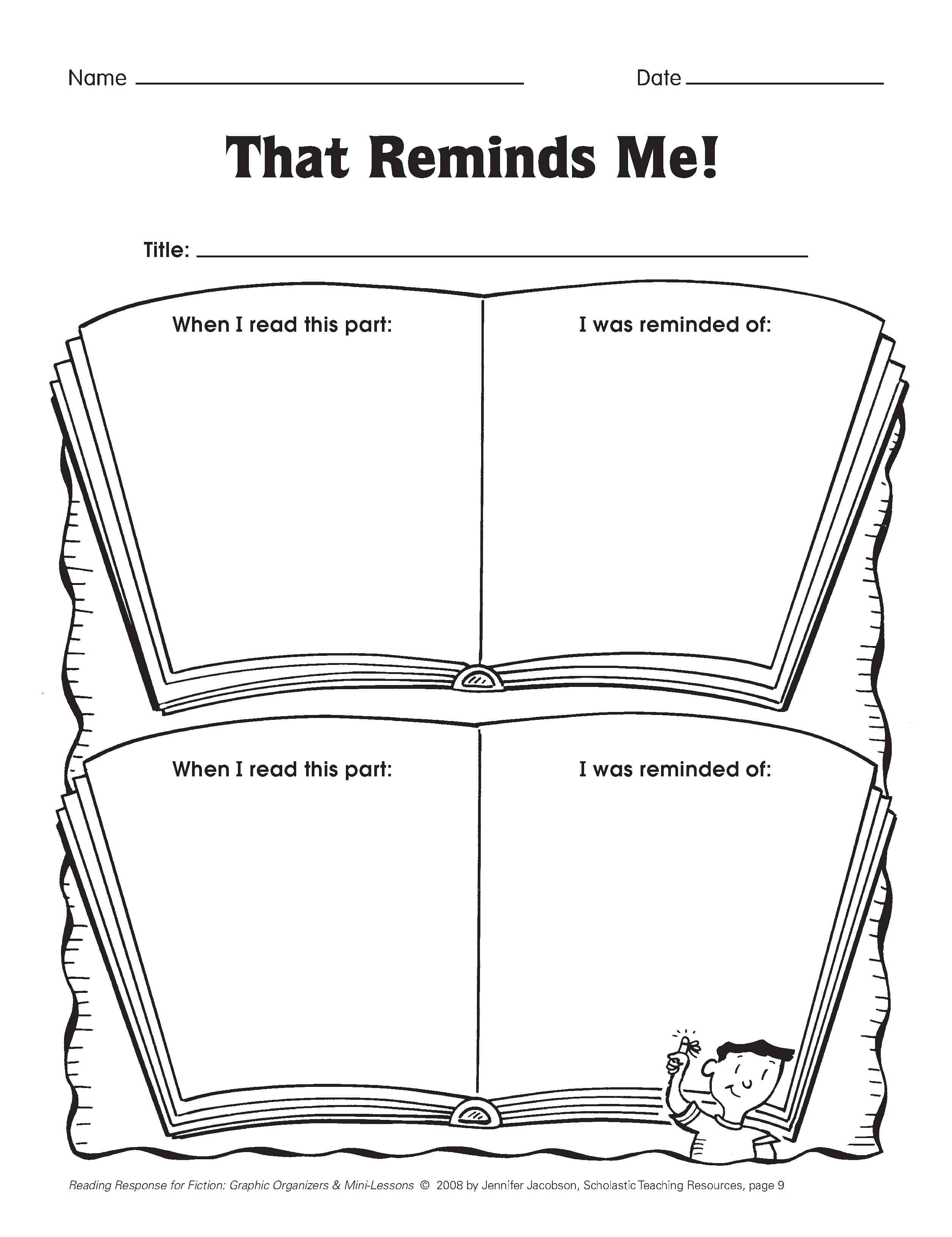 Book Jacket Graphic Organizer : Five minute reading responses scholastic