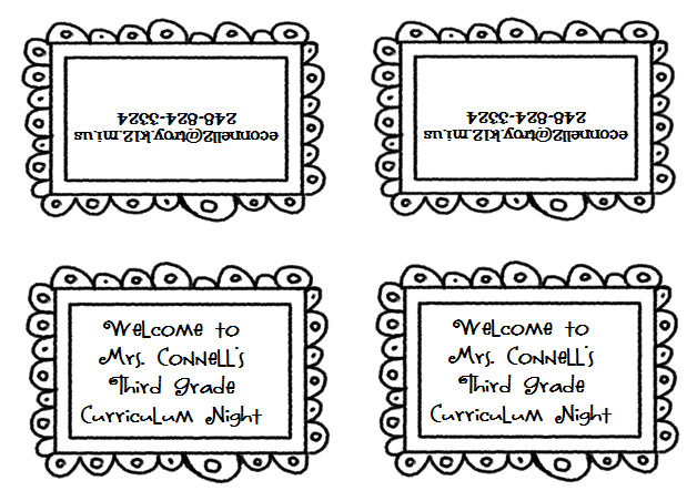 Treat bag labels with teacher contact info