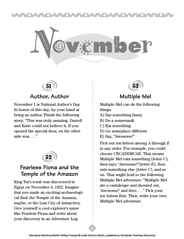 November writing prompts