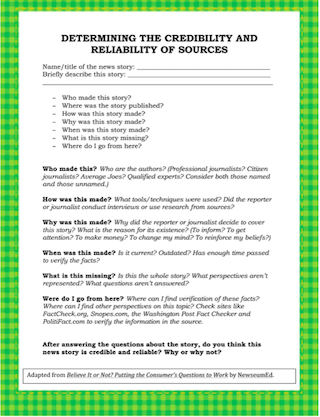 reiliable sources worksheet Web page credibility checklist use this checklist as a guideline to help you decide whether an online source is reliable 7 or more points:.