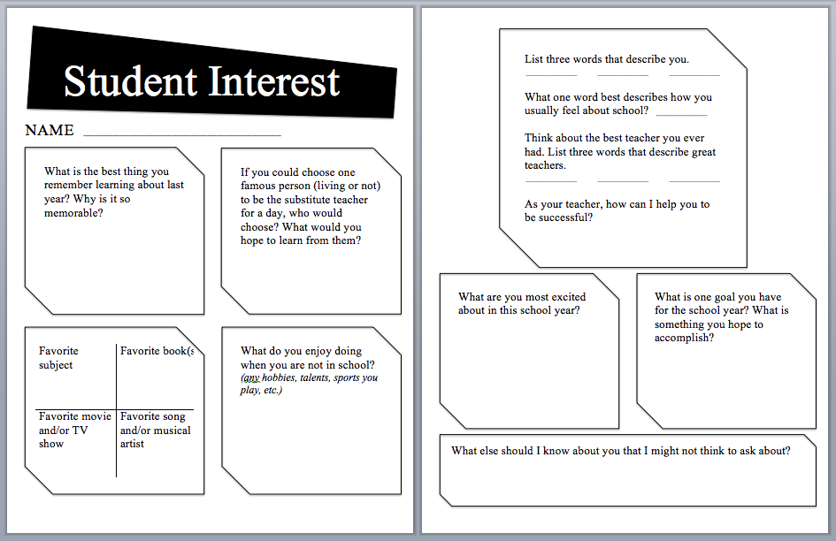 It's just an image of Resource Interest Inventory for Middle School Students Printable