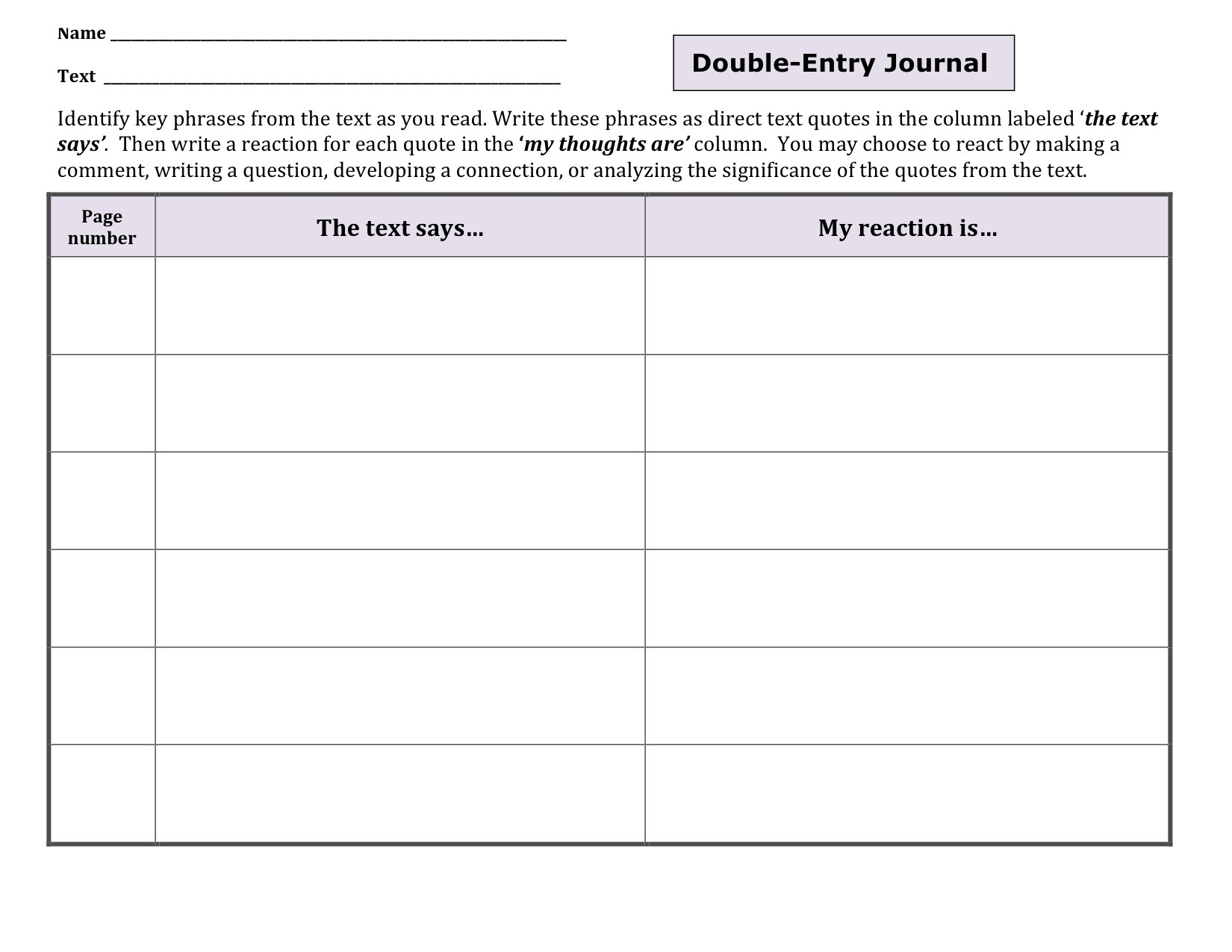 Content specific literacy focusing on comprehension for Double sided journal entry template