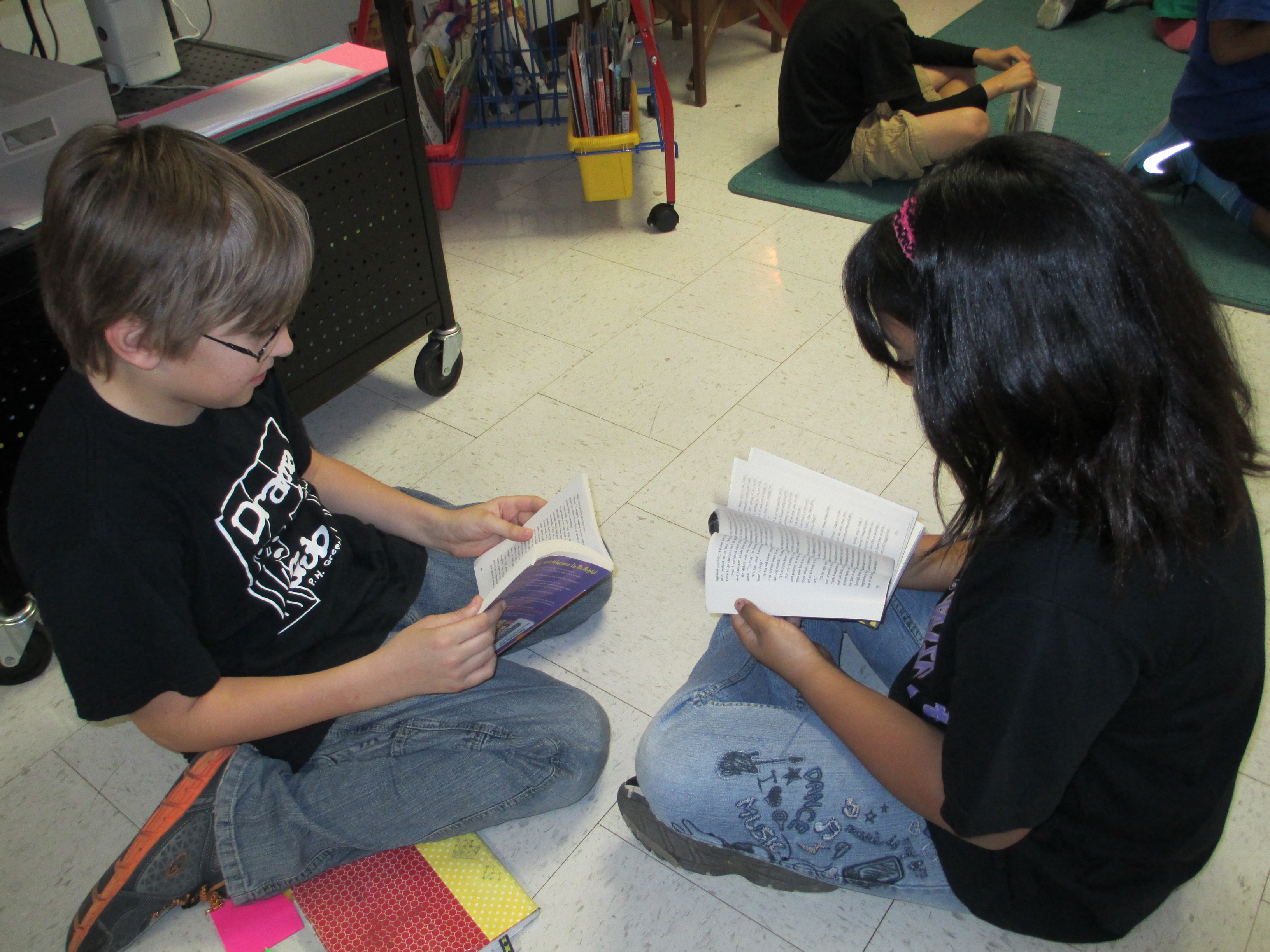 Students working in book club