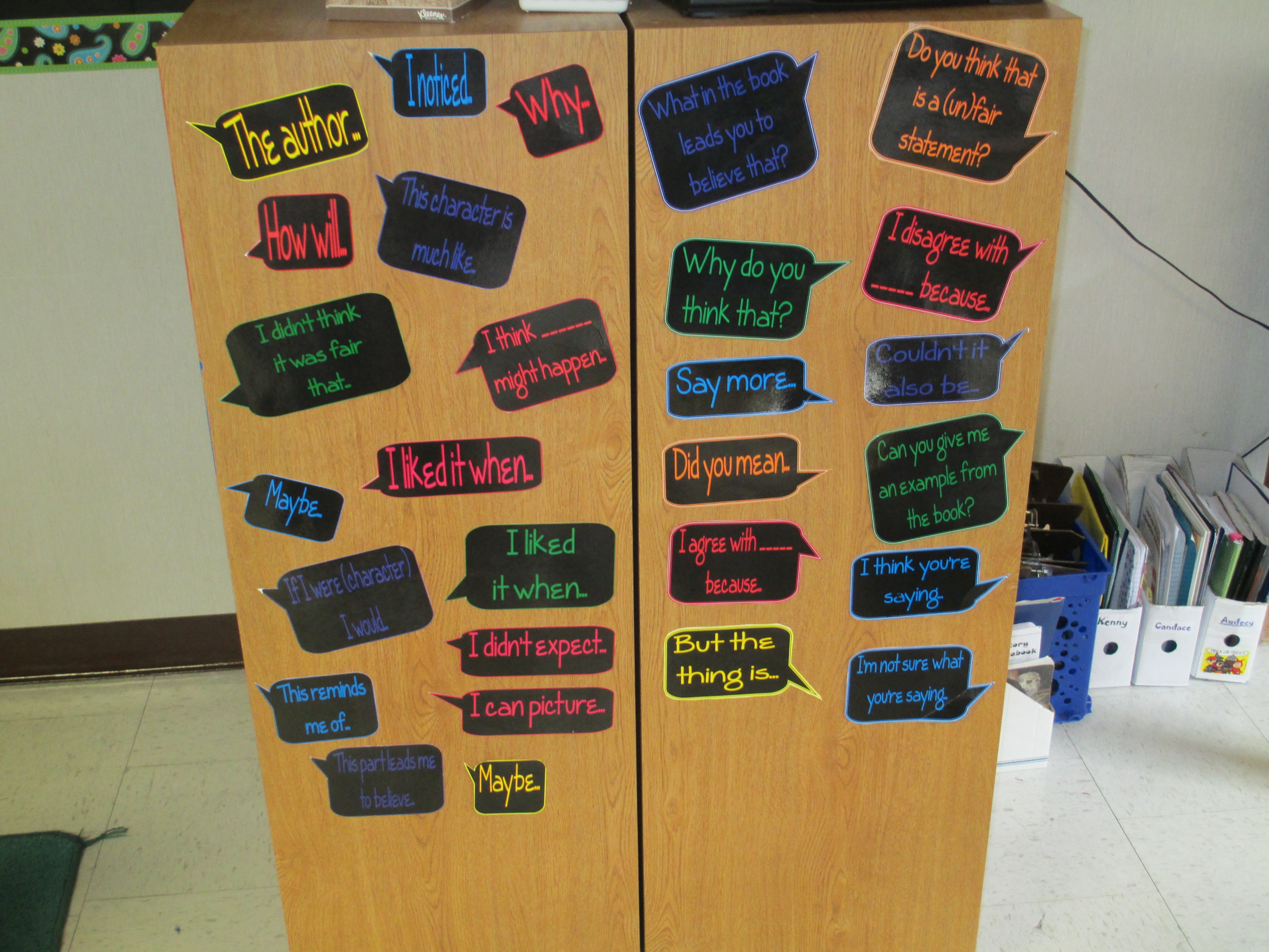 Display of conversation prompts for reading