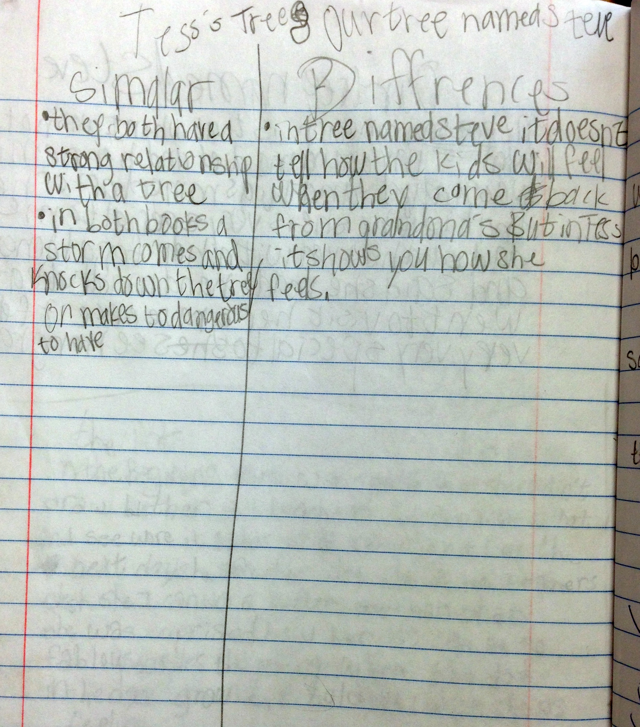Student reading notebook entry