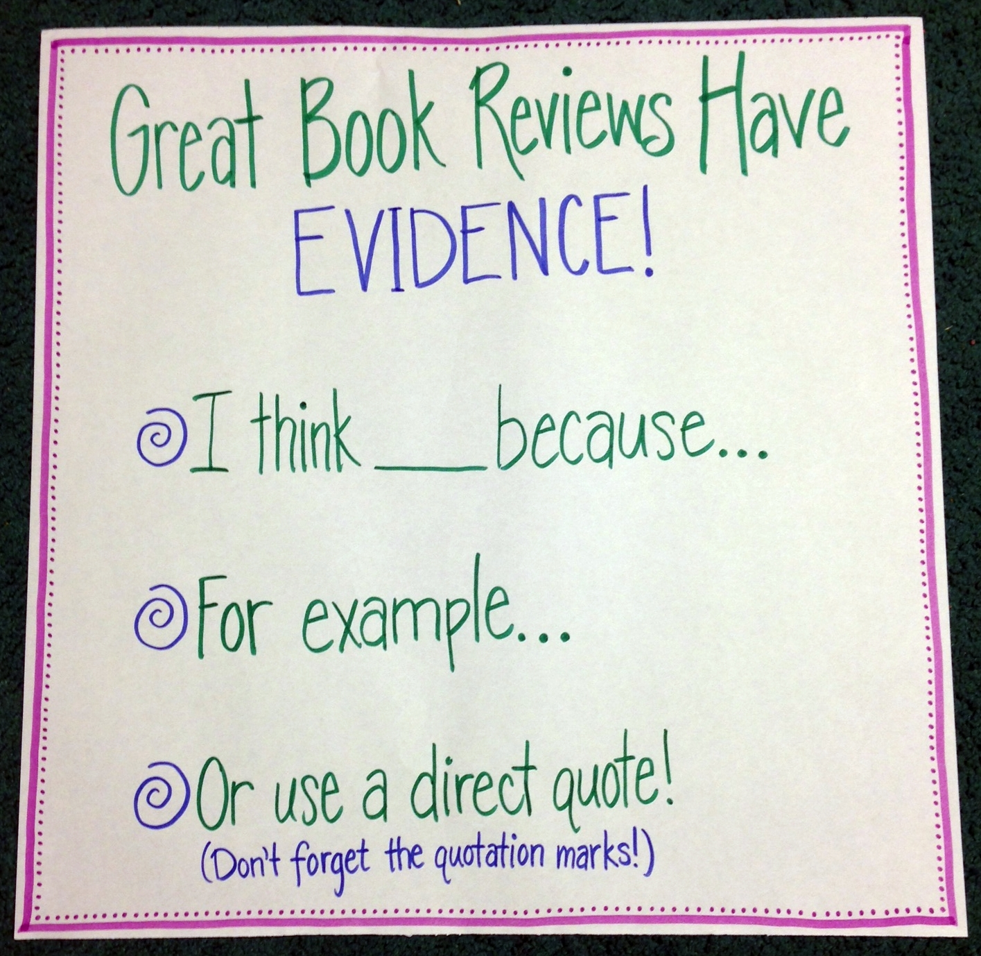 chart about evidence