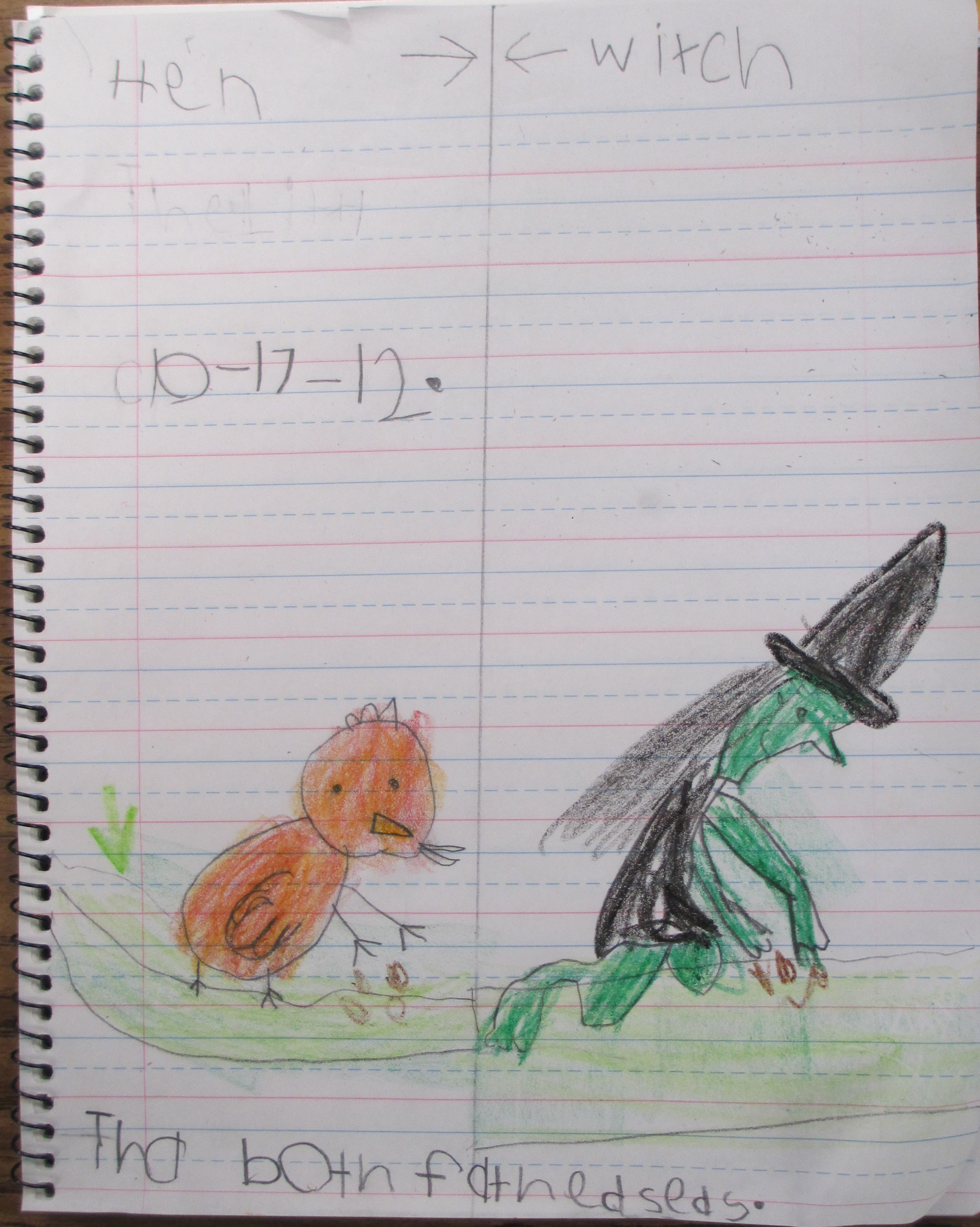 Student Notebook on Hen and Witch