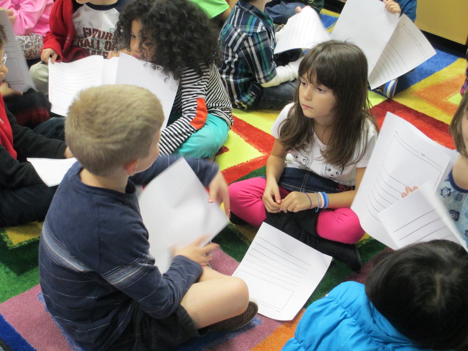 Students telling stories to a partner