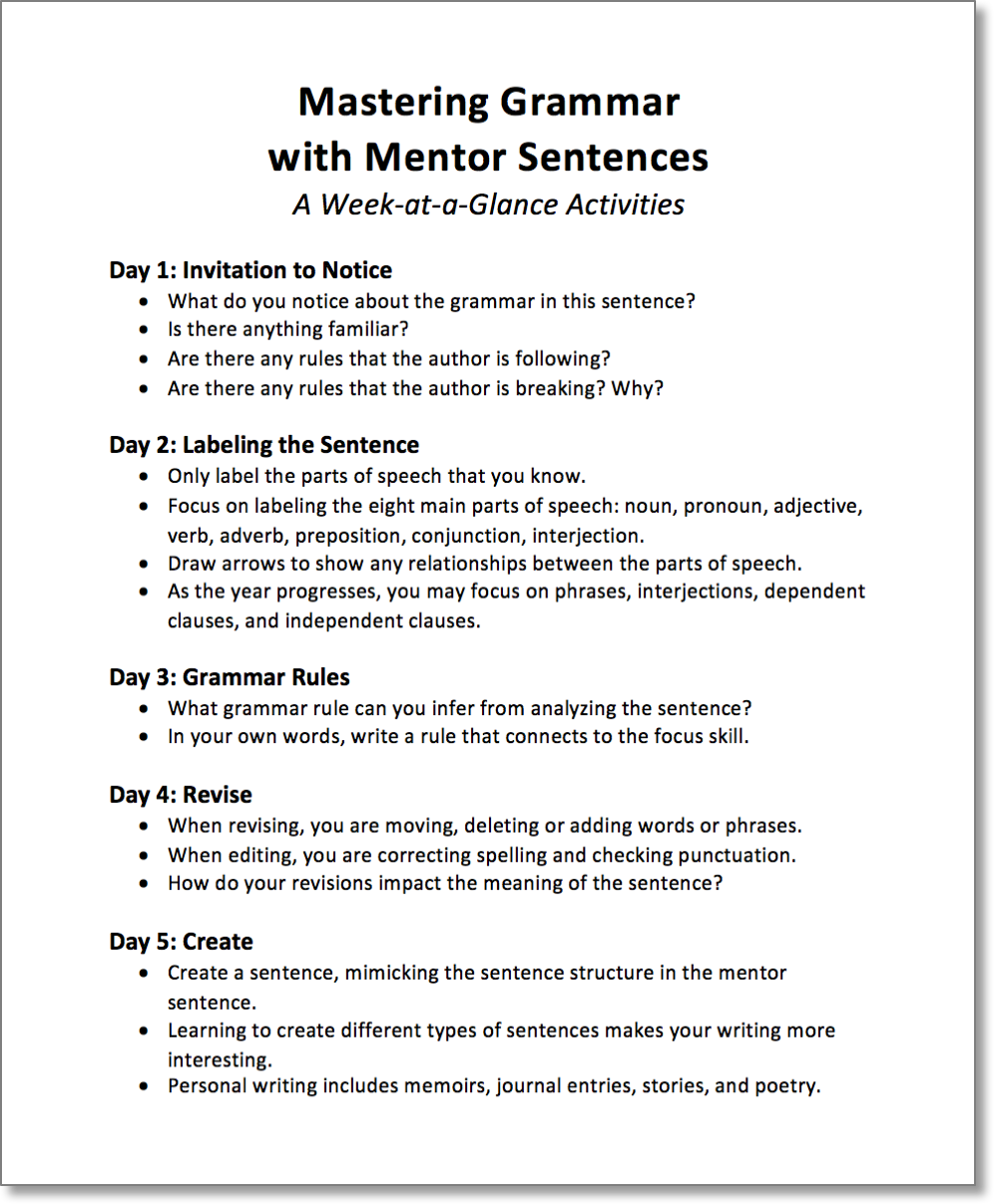 Mastering Grammar With Mentor Sentences Part 2 Scholastic
