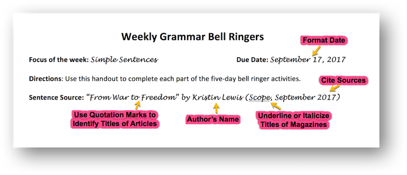 Mastering grammar with mentor sentences part 1 scholastic day 1 invitation to notice stopboris Image collections