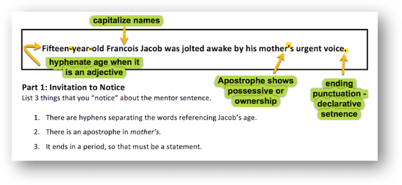 Mastering Grammar With Mentor Sentences Part 1 Scholastic