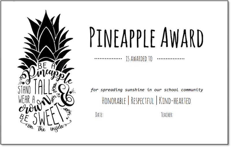 reward students with the pineapple award scholastic