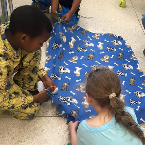 Creating blankets to donate
