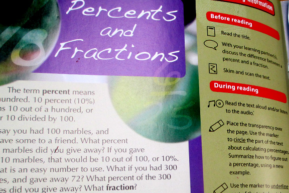 Math Reading on Fractions and Percents