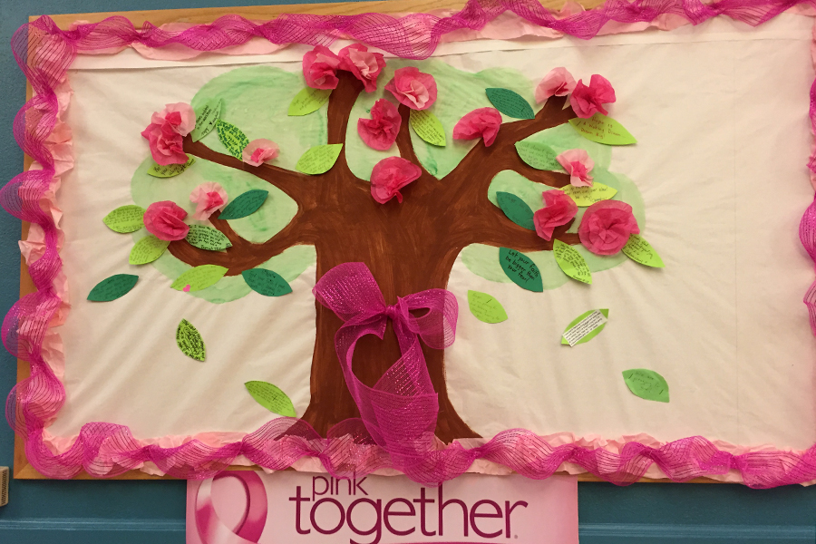 Pink together bulletin board