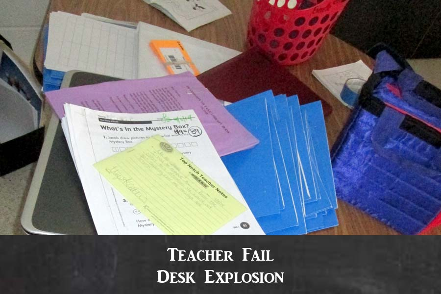 Messy teacher desk
