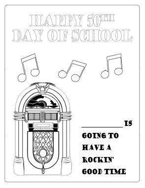 1950s Day Coloring Page