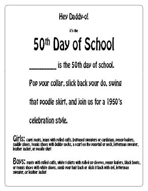 1950s Dress Up Day Letter