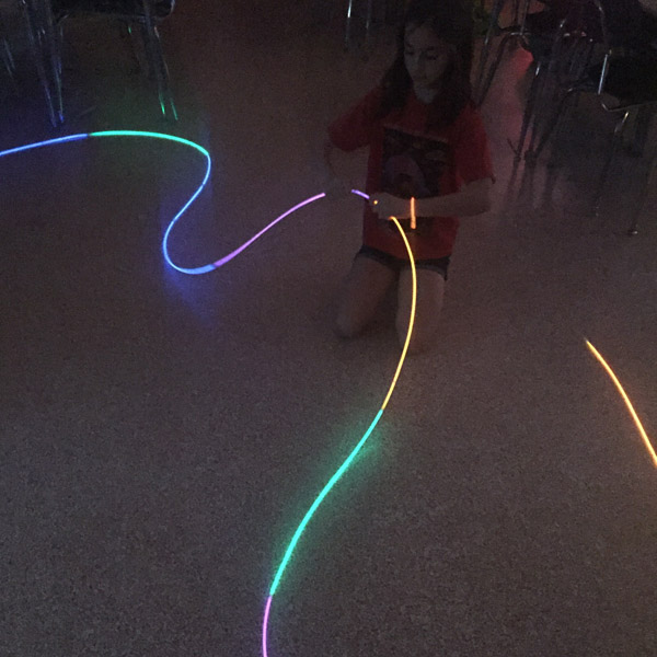 Building with glow sticks