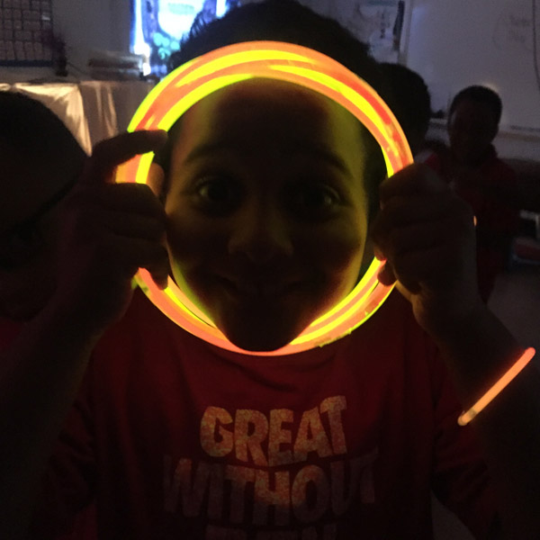 Enjoying a glow party