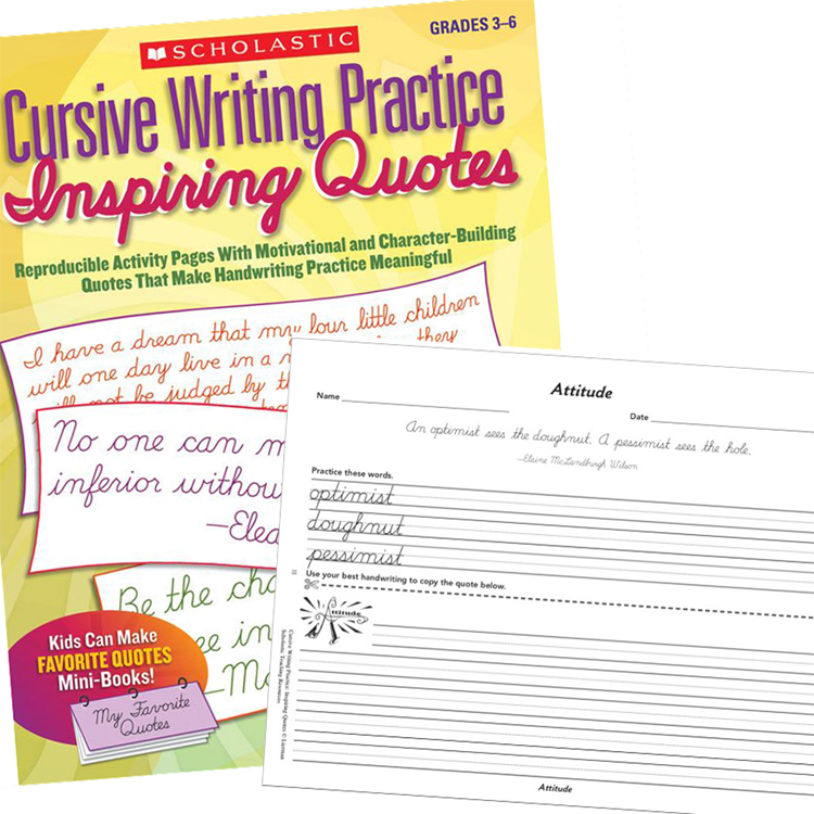 Cursive writing practice inspiring quotes