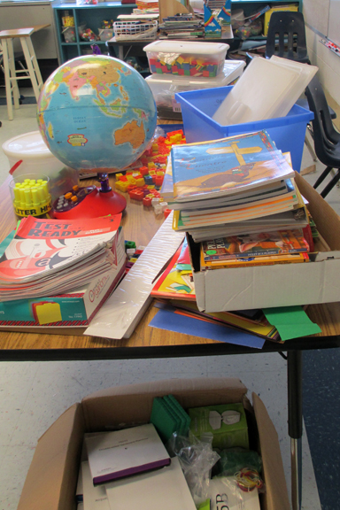 Table of Classroom Supplies