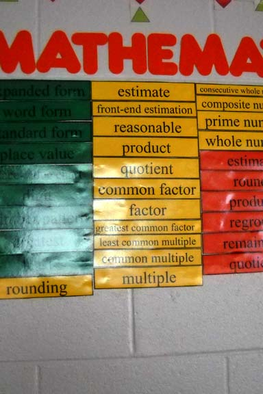 Color Coded Math Words