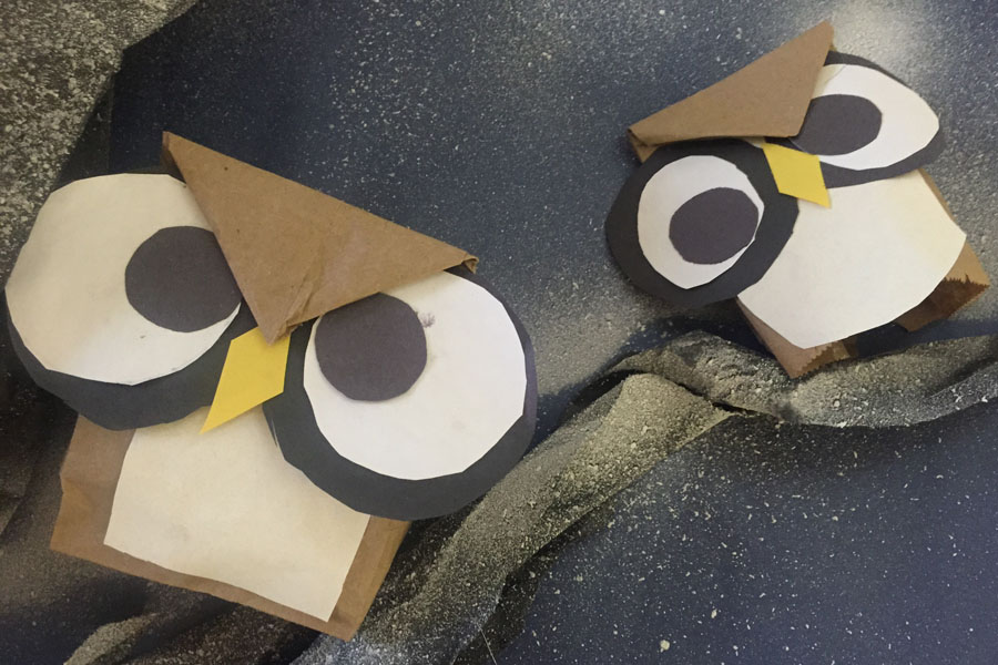 Owls made with paper bags