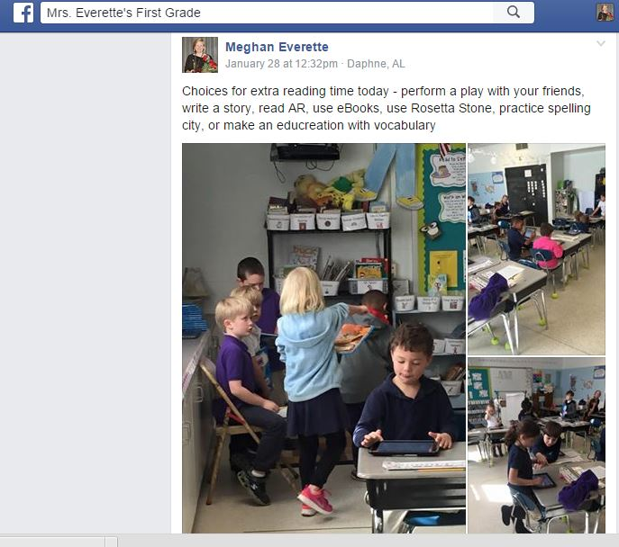 facebook updates in the classroom