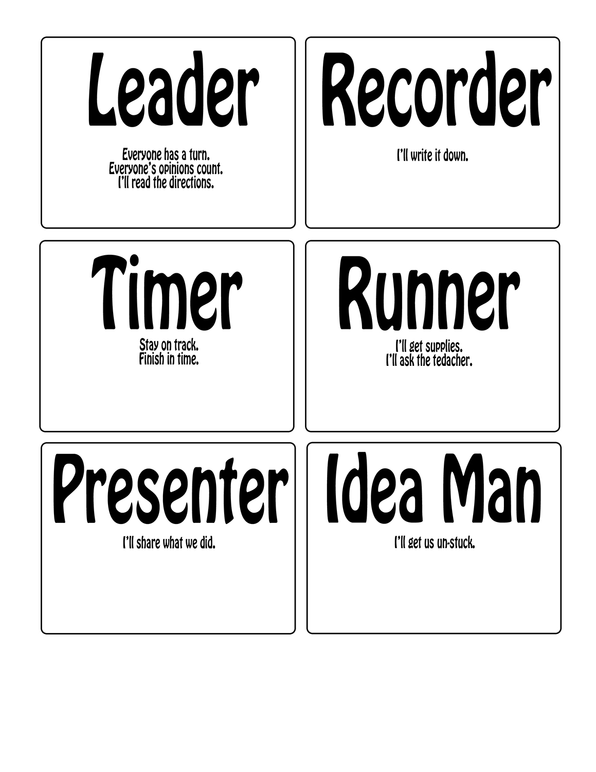 Printable task cards for cooperative groups
