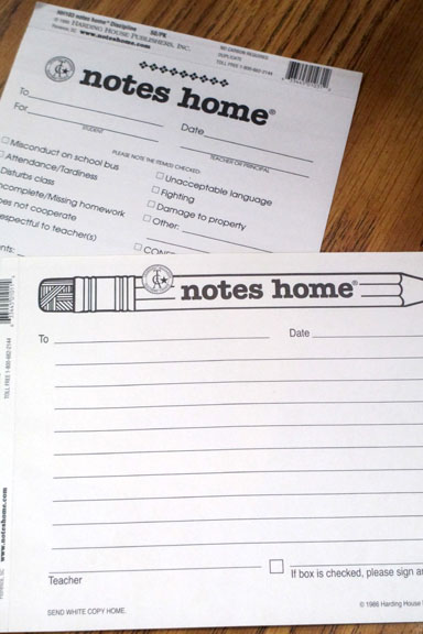 Classroom Parent Notes