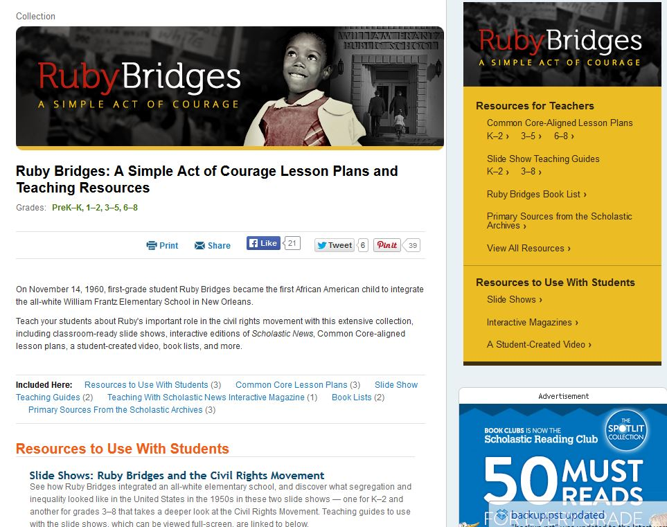 Ruby Bridges collection page