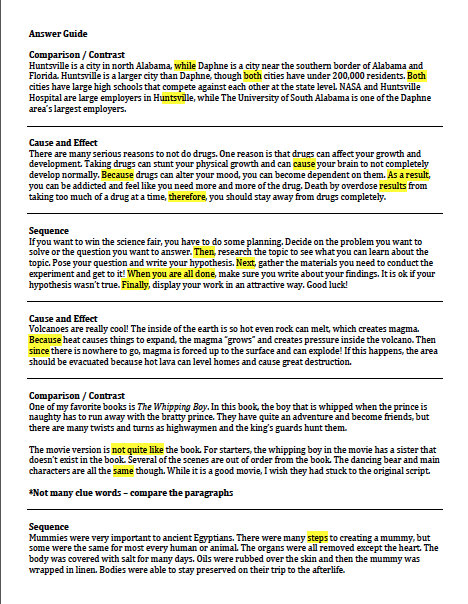 sample student markup paragraph structure