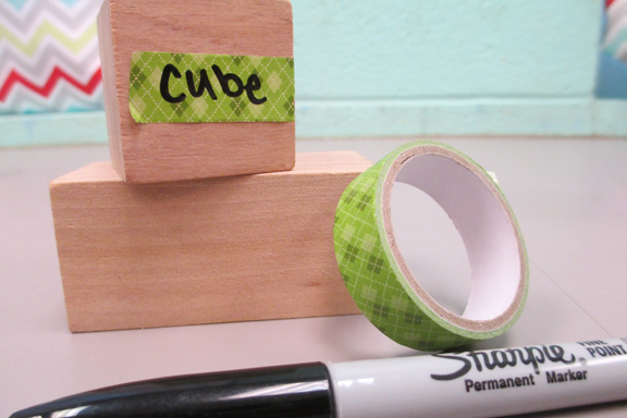 Math tool labels with washi tape