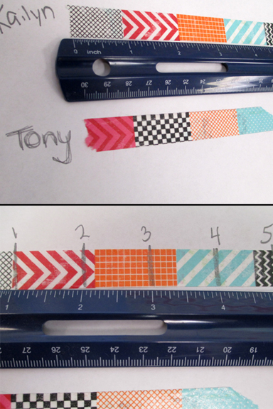 Washi tape for math measurement