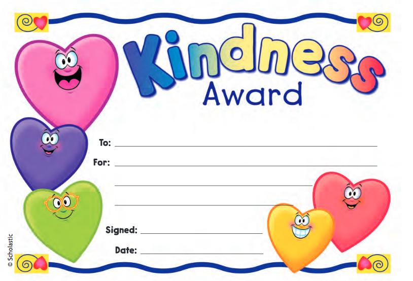 Kindness Award Fill In Reward Printable Awards Incentives And