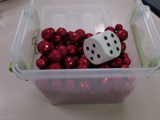 table scatter and dice for math game