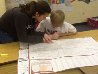 students looking at a map