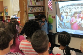 2nd graders participating in naturalization ceremony