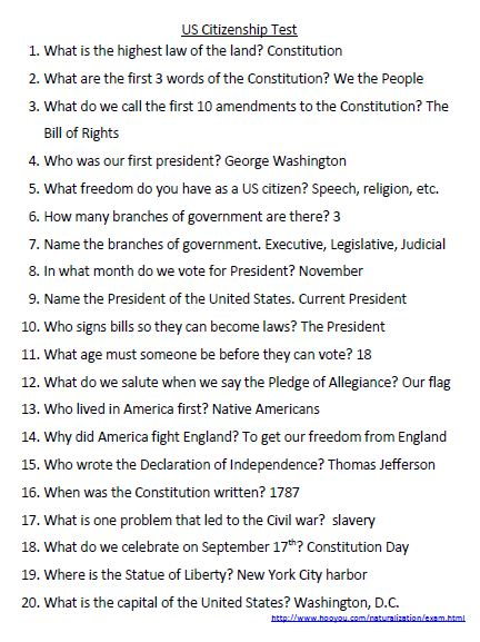 US Citizenship Test answers