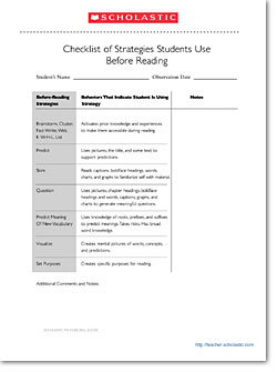 Checklist for Strategies Students/before reading