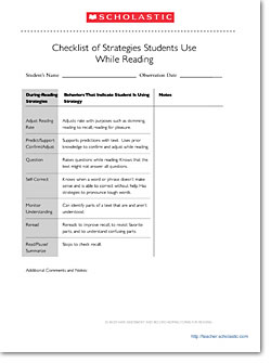 Checklist for Student Reading Strategies: During Reading ...