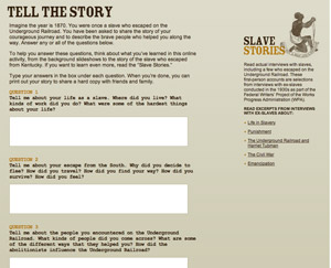Scholastic.com's Underground Railroad: Tell the Story activity