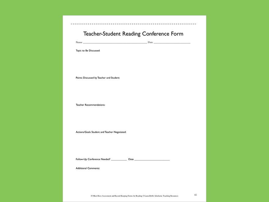 teacher student reading conference form printable forms and record