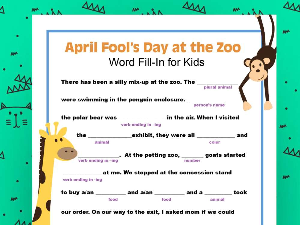 Fill in an April Fool's Day Mad Libs