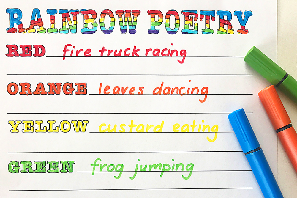 Write Rainbow Inspired Poetry With Your Kids Scholastic Parents Woman and the word poet as tips on writing poems. write rainbow inspired poetry with your