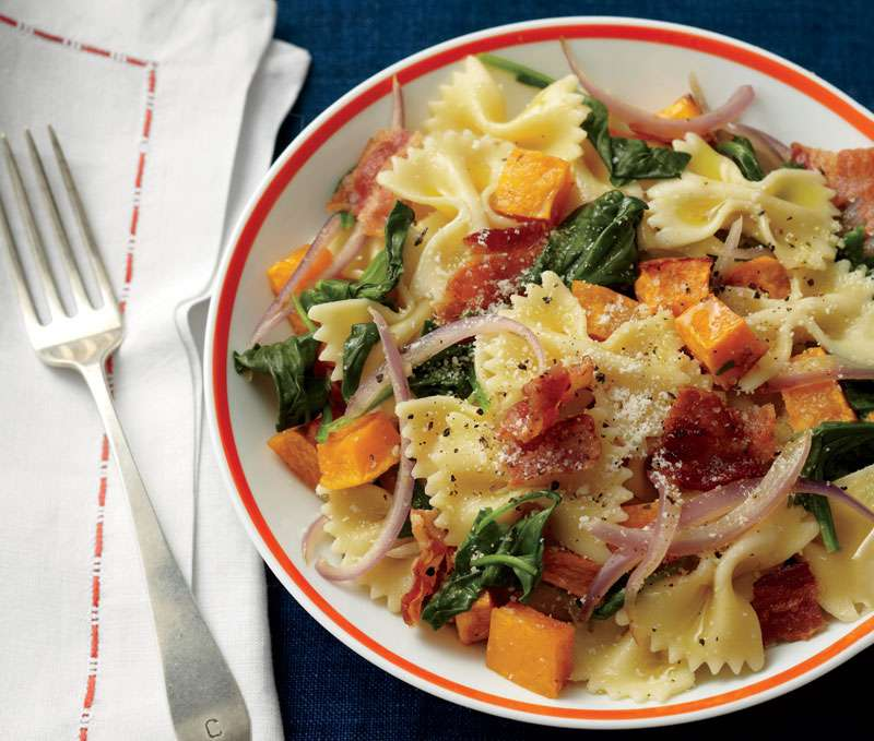 Easy Pasta Recipe: Farfalle with Butternut Squash, Bacon, and Greens