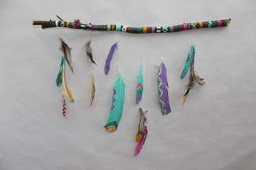 Thanksgiving Crafts for Kids: Feather Mobile