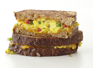 Vegetarian Recipe: Cheesy Omelet Sandwich