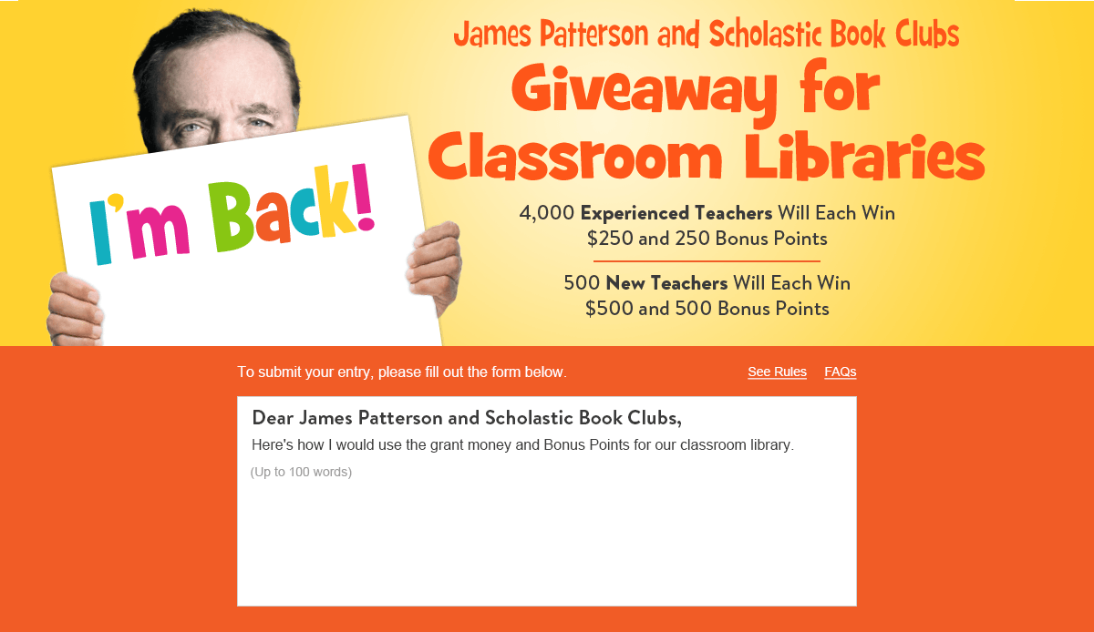 New for 2019! James Patterson and Scholastic Book Clubs
